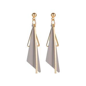 20Pairs Lot European Geometric Tassel Ear Drop Alloy Triangular Dangle Earrings For Women Party Gift Gray Stud Earring Jewelry Fashion