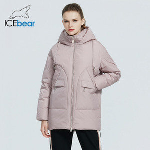 Icebear Mulheres Winter Fashion Jacket Feminino vestuário com capuz de Mulheres Parkas Marca Roupa GWD19610I 201014