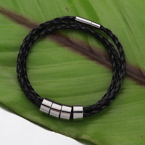 Fnixtar 20Pcs Black PU Leather Rope Bracelets Stainless Steel Mirror Polished Beads Bangles DIY Personality Bracelets For Women 0930