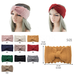10 Renkler Örme Knot Bandı Headwrap Lady Kadınlar Için Tığ Geniş Streç Hairband Turbans Saç Aksesuarı Kış Kulak Isıtıcı DB209