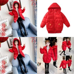 9QA Kids size new winter fashion jacket long jacket children Faux Fur Hooded Parka Down girls Coat Puffer child down plus Jacket