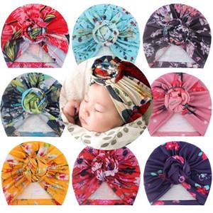 2021 Newborn Baby Turban Hats for Girls Flower Bow Knot Hats Kids Elastic Baby Turban for Girls Soft Headwrap Infant Headband Beanie Cap