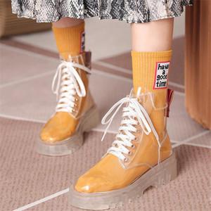 2020 Sonbahar Boots Şeffaf Ayakkabı Kadınlar Moda Bilek Boots For Women Temizle Topuk Kısa Yüksek Kalite