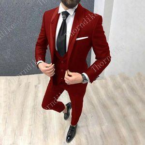 Red Suit For Men Groom Male Wedding Prom Suit Slim Fit Tuxedo Men Formal Business Work Wear Suits 3Pcs Set (Jacket+Pants+Vest)