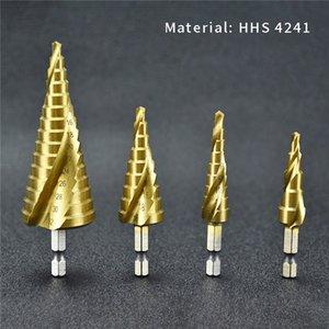Nueva broca de 4 piezas Set hexagonal Here Steel Acero de alta velocidad Acero de alta velocidad Titanio Spiral Step Tower