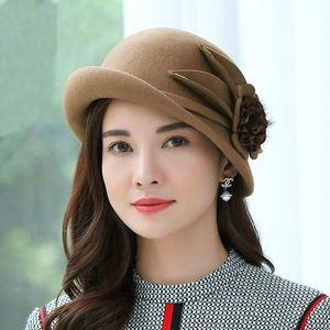 Beckyruiwu Lady Party Formal Hats Special Shade Fedora Hats Women Autumn and Winter Asymmetric Brim Wool Felt Hat 201013