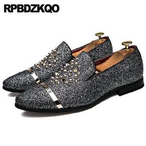 Из мужчин Мокасины Дешевые Металл Марка Runway Black Glitter Обувь Casual лакированной кожи Остроконечные Toe Rivet Stud Sequin Слип