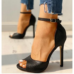 Western Style Sexy Fish Mouth Women's Shoes Leather One-link Hollow Shoes For Women Super High Heels Sandal 201007