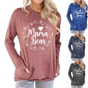 Woman Long Sleeve O Neck Sweatshirt Mama Bear arrow Printed Pocket Hoodies S-2XL Sweatshirt