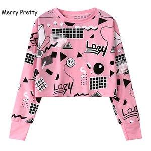 MERRY PRETTY Autumn Harajuku Women Printed Short Sweatshirts Long Sleeve Geometry Printed Hoodies Hip Hop Pink Crop Tops 200930