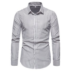 Erkekler Casual Slim Fit Çizgili Sosyal Uzun Kollu Giyim İş Marka Elbise Erkek Gömlekler için SZMXSS Gömlek Klasik Düğme LJ200928 Tops