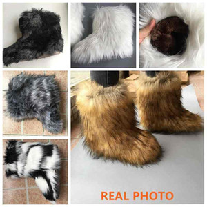 REAVE CAT Furry Boots Winter Shoes Women Snow Boots With Bag Headband Luxury Fur Winter Boots For Women High Boot Fur Shoes 201023