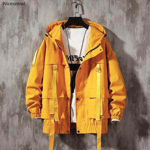 Homens Streetwear Hip Hop Bomber Jacket Harajuku Fitas Pockets Windbreaker coreano Estilo Modas Roupa Plus Size