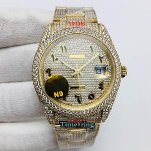 N9 Версия версии 126333 126334 116244 Арабские бриллианты циферблат ETA2824 Автоматические мужские часы 904L стальной алмаз со льдом из полного золота