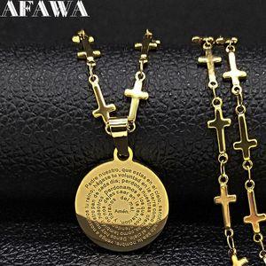 2020 الأزياء الكتاب المقدس الصليب الفولاذ المقاوم للصدأ قلادة سلسلة للنساء الذهب اللون collless jewerly colier فام n19511