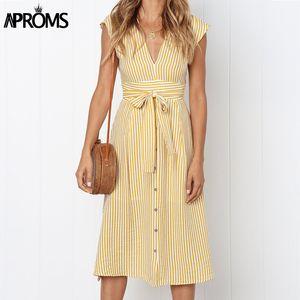 Aproms Vintage Stripe Print Midi Dress Women Elegant Deep V Sash Tie Up Bodycon Dresses Female Summer Streetwear Sundresses 2020 Y200623