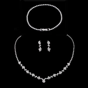 Bridal Wedding Jewelry Sets Necklace Earrings Bracelet Sets 2021 Brand Deisgner Marquise Cut Cubic Zirconia Crystal Women Accessories AL8608