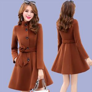 2020 New Women outerwear autumn winter clothing Korea fashion belt warm woolen dress blends Slim female elegant woolen coat