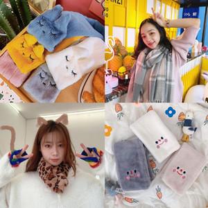Cartoon Women Winter Warm Scarf Fashion Thicken Imitation Fur Grass Scarve Women accessories Winter Shawl Plush Scarfs