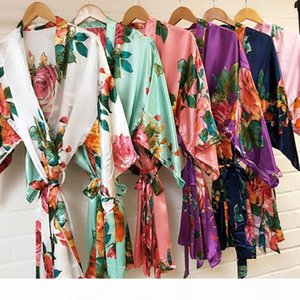 Fashion Silk Satin Short Kimono Robe Wedding Bride Bridesmaid Night Robe Floral Bathrobe Female Dressing Gown For Women