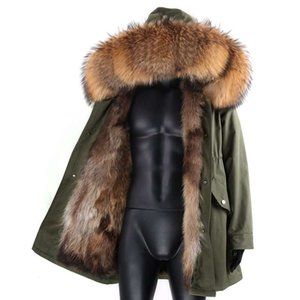 Waterproof Long Jacket Real Fur Coat Men Parkas Lined High Street Winter Man Cl Clothing Length Weight Hooded Collar Style