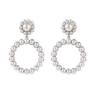 Boucles d'oreilles suspendues rondes en cristal tendance pour femmes Fashion Pearl Charm Mariage Boucles d'oreilles Déclaration Femme Bijoux