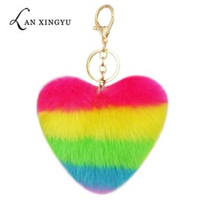 Heart Pompoms Keychain Rainbow Plush Balls Key Chains Decorative Pendant for Women Bag Accessories Keychains Car Fashion Keyring