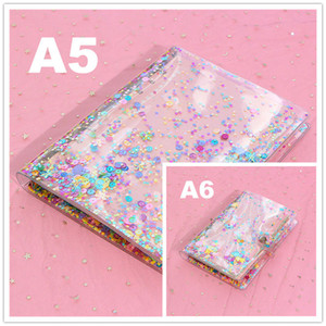 A5 A6 Colorful Notebook Binder PVC Loose Leaf Notepad Cover Spiral 6 Holes Journal Sketchbook Case Classic School Office Supplies
