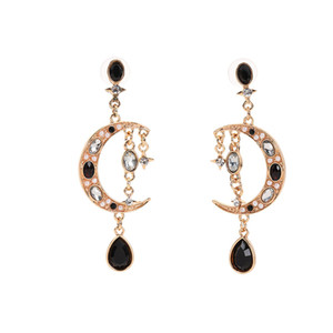 Moon and star Gold color Earrings For Women Color Golden Geometric Statement Earrings Metal Earing Hanging Trend Jewelry
