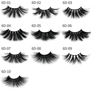 Wholesale 10styles 6D 25mm Eyelashes 100% Volume Natural Long Hair 3D Mink False Eyelashes Extension Fake Lash Makeup Mink Eyelashes Pack