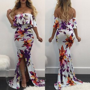 L5124 2018 Autumn Selling Womens Digital Printing Digital Fishtail Dress Mop Abito
