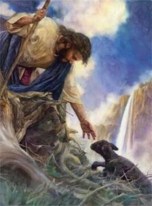 Спасение Иисуса достигает черного потерянного ягненка Домашняя декор HDPainted HD Печать Маслом Картина на холсте Настенные Художественные Фотографии, F2012020