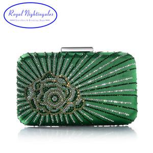 Caliente nuevo oscuro verde / púrpura bolsas grandes de cristal satinado seda embrague de la caja y de noche con flores para la fiesta de la boda vestido de fiesta para mujer Q1113