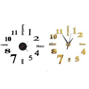 2 Pcs 3D Large Wall Clock Mirror Sticker Big Watch Sticker Home Decor Unique Gift DIY, Gold & Black