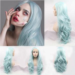 Sentetik Dantel Ön Peruk Doğal Uzun Dalgalı Saç Pembe Kıvırcık Peruk Doğal Saç Çizgisi Isıya Dayanıklı Fiber Peruk