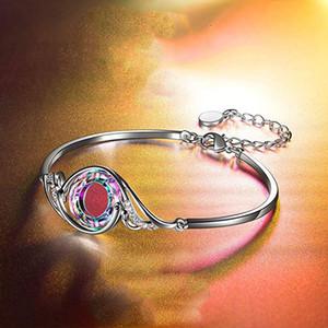 Braccialetto di piume di pavone 7 colori strass cristallo graduale cambiamento del braccialetto Lega donna placcata argento polsino toroidale 4 8FS L2