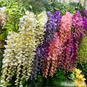 50pcs Wisteria Wedding Decor 110cm 75cm 6 colors Artificial Decorative Flowers Garlands for Party Wedding Home