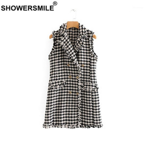 Women's Vests Womens Plaid Vest Houndstooth Long Tweed Sleeveless Fringe Jackect Slim Waistcoat England Style Gilet Women1