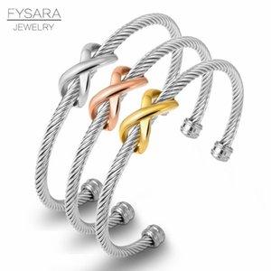 Fysara X Bangle cavo ritorto filo braccialetti del braccialetto Croce stilista delle donne dell'annata dei braccialetti del polsino marca famosa bbylmH nana_shop