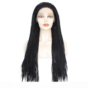 Natural Black Braided Wig with Baby Hair Long Braids Full Wigs Glueless Synthetic Lace Front Wigs for Black Women Heat Resistant