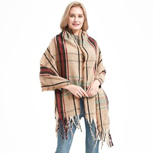 Royalmaybe 2020 autumn and winter new lattice polyester tassel scarf female men's warm shawl Factory direct sales