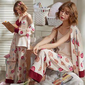 3PCS Set Cotton Maternity Nursing Pajamas Sets Spring Autumn Breastfeeding Robe For Pregnant Women Pregnancy Sleepwear Lounge