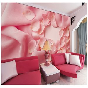 Bacal Large Pink Cloth Rose Flower Papel Mural 3d Wall Photo Murals Washable Wallpaper for Wedding Room 3d Wall Mural Wall paper
