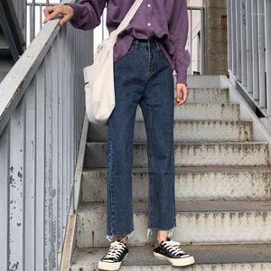 WHCW CGDSR Herbst Denim Pants Frauen Vintage Winter Jeans Frau Feste Hohe Taille Streetwear Koreanische Stil Jeanshose 2020 strat1
