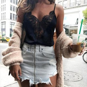 tank top Local stock Womens Blouse T shirt Summer Lace V Neck Sleeveless Straps Vest Shirt Tank Top