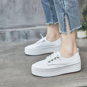 2019 Spring New Style Platform White Shoes Womens Elevator Shoes Korean Style Thick Bottomed STUDENTS Versatile WOMENS Oxford Shoes Te lzQF#