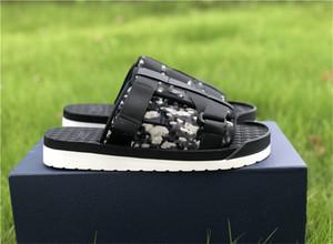 2020 Yeni Moda Erkekler Siyah Alfa Sandal Oblique Jakarlı Yaz Erkekler Terlik Naylon Bantlar Rahat Kauçuk Sole Scuffs EUR Boyutu 39-45