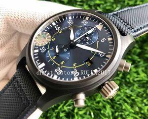 ZF Factory Mens 7750 cronógrafo cronómetro 44mm reloj reloj a prueba de agua Cosámica de cerámica Fecha 388002 Tela de cuero Deporte Relojes de titanio