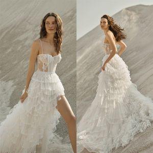 2021 Spaghetti Straps A Line Wedding Dresses See Through Corset Top Boho vestido de novia Side Slit Tiered Skirt Bridal Gowns