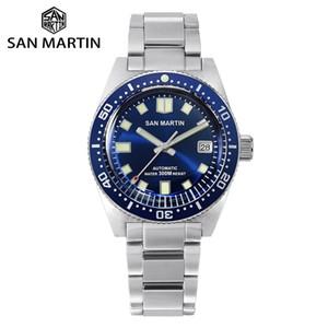 San martin 62mas sapphire subacqueo orologio in acciaio inox NH35 Automatic Men Mechanical Orologi meccanici Data Sunray 300m impermeabile LJ201212